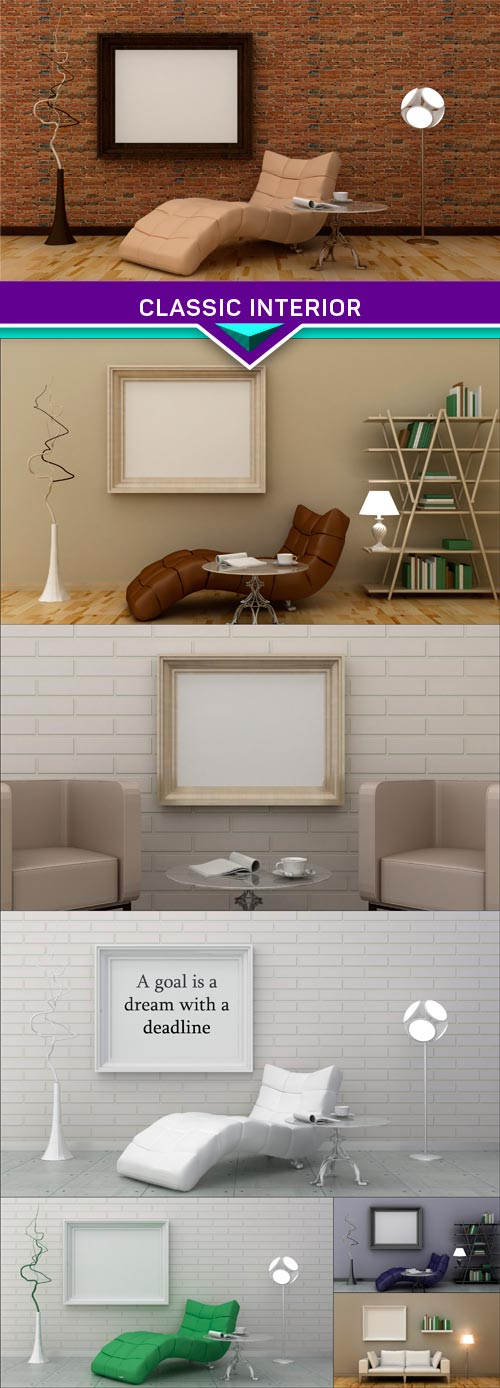 Classic interior, background on the brick wall 3d render 7X JPEG
