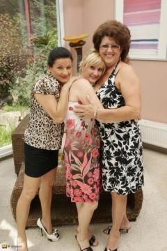 Elmira (46), Gigi (52), Celine H. (50) - 3 mature lesbians sharing their pussies (2012) HD 720p