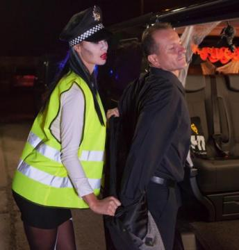 Jasmine Jae - British babe Jasmine Jae plays the police woman in Halloween decorated car (2016) HD 720p